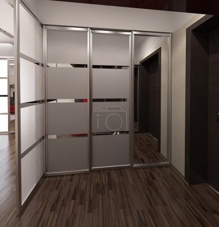 Photo for Modern interior design ideas. Three dimensional rendering of hall project. - Royalty Free Image