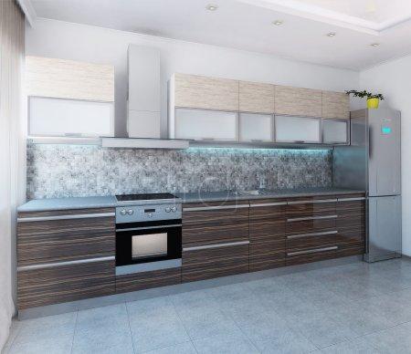 Kitchen modern style interior design, 3D render