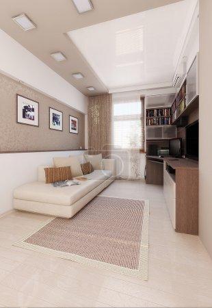 Light colors bedroom interior design, render 3D