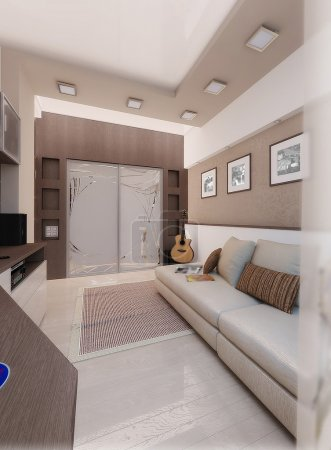 Young man bedroom, interior design, render 3D