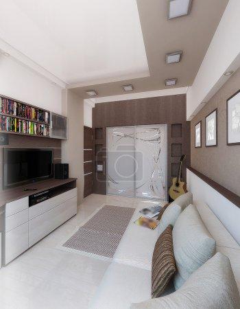 Young man bedroom, interior design, render 3D