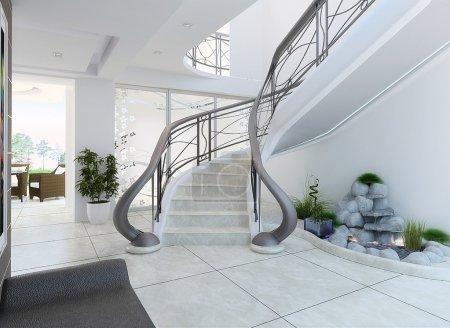 Photo pour Conception d'escaliers comme un filtre pour élément décoratif lumineux et central basé sur la modélisation informatique en trois dimensions. - image libre de droit