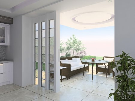 Photo pour Vue sur le salon plein air. Exemple d'extension de l'espace de vie, de maison, mélange de plein air de l'intérieur. - image libre de droit
