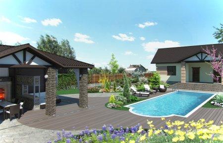 Photo pour Exemple d'aménagement de patio. Caractère naturel du site dans la conception . - image libre de droit