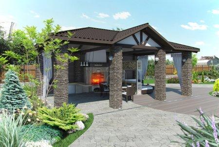 Outdoor patio garden pavilion, 3d render