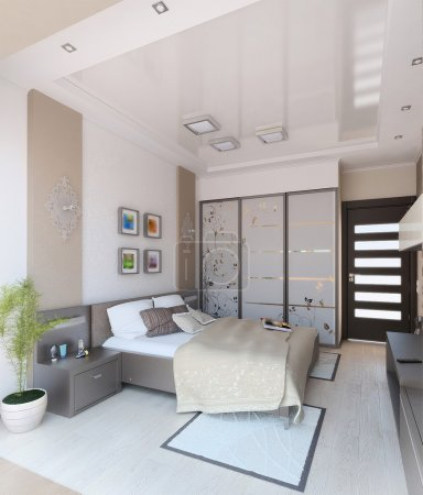 Bedroom modern style interior design, 3D render