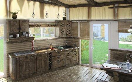 Bungalow central living area, 3d render