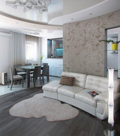 Minimalism sitting room, 3D render