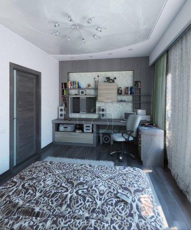 Photo pour Idées de design intérieur moderne. visualisation 3D de design d'intérieur chambre à coucher. - image libre de droit