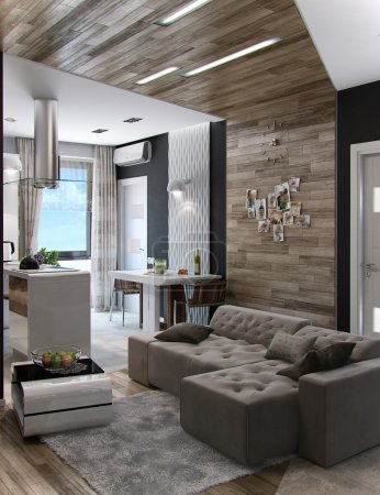 Open concept living room, 3d render