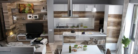 Photo for Open concept kitchen and living room arranging. Living spaces functional partitioning, welldefined through decoration accents. - Royalty Free Image