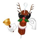 Kebap-Rentier mit Glocke und Holly berry