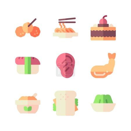 Illustration pour Icônes de restauration rapide ensemble. illustration de dessin animé d'icônes vectorielles pour le web - image libre de droit
