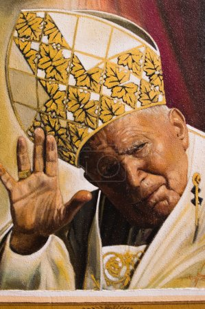 Photo for Assisi, Italy - October 2015 -  a painted image of pope John Paul II, 2015. - Royalty Free Image