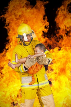 Firefighter, fireman rescued the child from the fi...