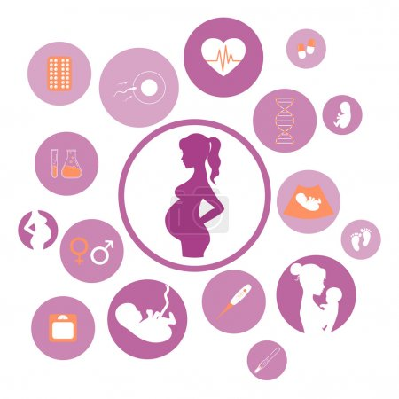 Illustration for Pregnancy and newborn baby icons set. Childbirth and motherhood. Pregnancy and birth infographics. Medicine and pregnancy vector icons set. Baby care, mother birth illustration. - Royalty Free Image