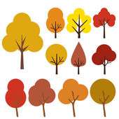 Collection Of Trees Isolated On White Background Vector Illustration