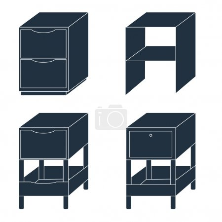 Office furniture. Document storage with drawers. Vector illustra