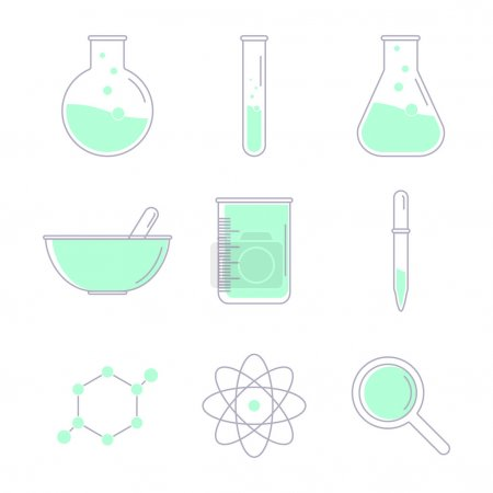 Illustration for Set of science icons. Chemical tools and utensils. Laboratory equipment. Chemical test tubes icons. Research and science. Vector Illustration, graphic elements for design. - Royalty Free Image