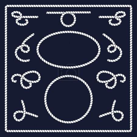 Illustration for Rope knots collection. Rope swirls, logos and badges. Vector illustration. Marine rope knot. Vector Rope. Set of nautical rope knots, corners and frames. Hand drawn decorative elements in nautical style. - Royalty Free Image