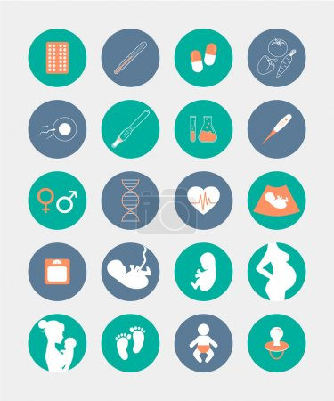 Illustration for Pregnancy and newborn baby icons set. Childbirth and motherhood. Pregnancy and birth infographics, presentation template and icons set. Medicine and pregnancy vector icons set. Baby care, mother birth illustration. - Royalty Free Image