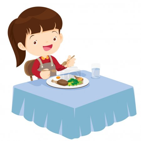 Cute Girl eating so happy and delicious