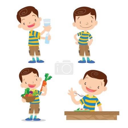 Illustration pour Vecteur de personnage de dessin animé garçon mignon beaucoup d'action. - image libre de droit