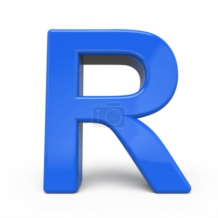 3d glossy blue letter R