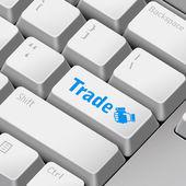 Message on 3d illustration keyboard enter key for trade concepts