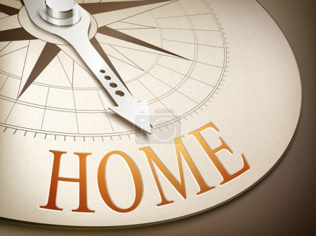 Illustration for 3d illustration compass needle pointing the word home - Royalty Free Image