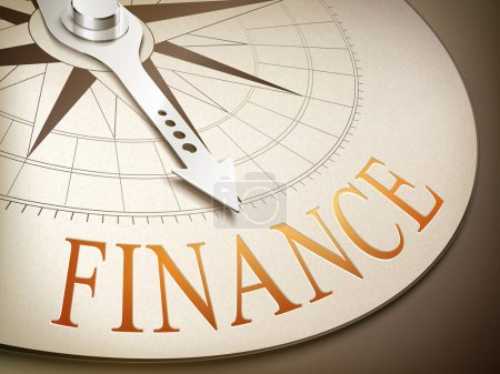 3d compass with needle pointing the word finance