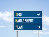 3d illustration debt management plan road sign