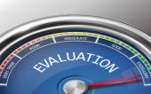 Evaluation conceptual 3d illustration meter indicator isolated on grey background