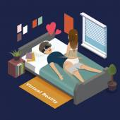 3d isometric flat design - Virtual reality for adult entertainment