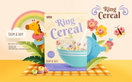 3d crunchy ring cereal ad template. Product package mock up sets on a picnic mat, decorated with butterfly, flowers and cute zoo animals.