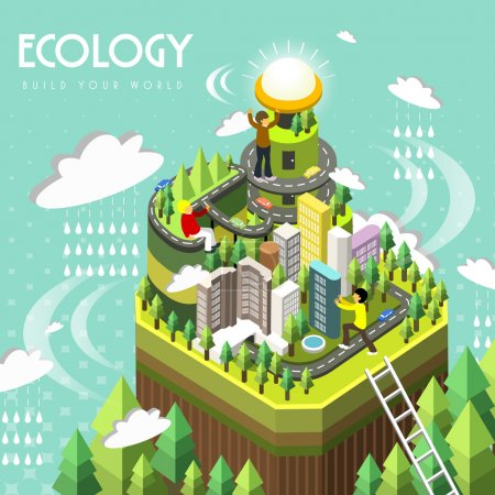 Illustration for Ecology concept in 3d isometric flat design - Royalty Free Image