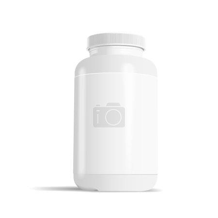 Illustration pour Flacon de médicament vierge avec étiquette isolée sur fond blanc - image libre de droit