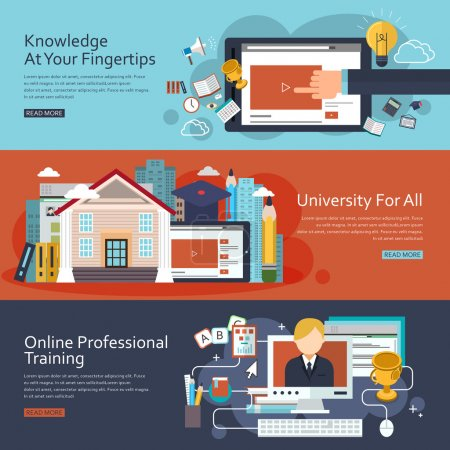 Illustration pour Bannières de concept d'éducation en ligne dans le design plat - image libre de droit