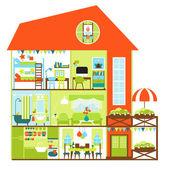 Podrobné rodinné chalupy interiér. Pokoje s nábytkem. Ploché styl vektorové ilustrace