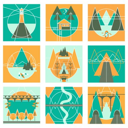 Camp, Traveling, Hiking Outdoor Activities Icon Set