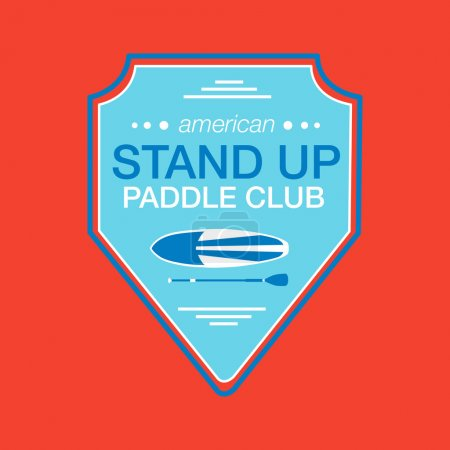 Colorful logo template for stand up paddling. Athletic labels and badges.
