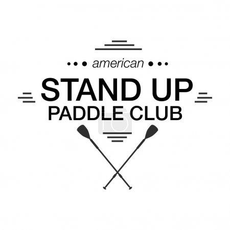 Black and white logo template for stand up paddling. Athletic labels and badges.
