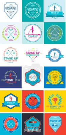 Colorful logo template for stand up paddling, athletic labels and badges