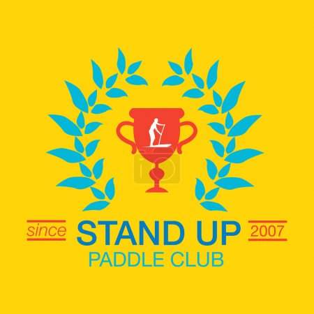 Colorful logo template for stand up paddling. Vector athletic labels and badges