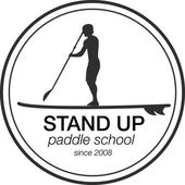 Logo template for stand up paddling Vector athletic labels and badges