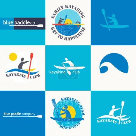 Set of different logotype templates for kayaking.