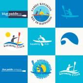 Set of different logotype templates for kayaking.