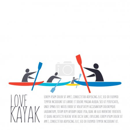 "vector flat design style illustration with signature "" love kaya"