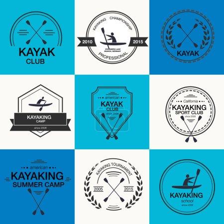 Set of different logotype templates for kayaking