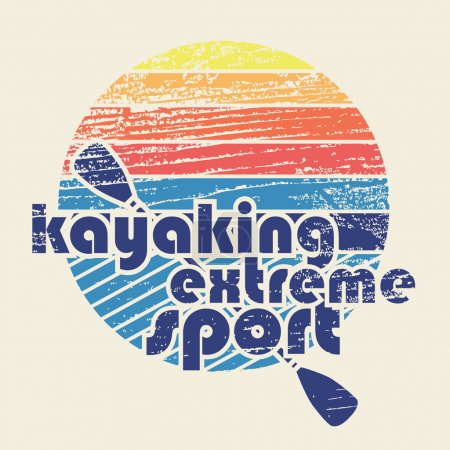 "Illustration for Colorful vector illustration with signature ""Kayaking extreme sport"" in flat design style on textured background as template for your design, article or print - Royalty Free Image"